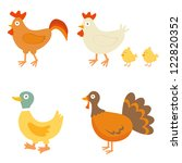 a colorful farm birds collection | Shutterstock .eps vector #122820352