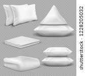 white realistic pillows and... | Shutterstock .eps vector #1228205032