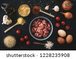 lunch ingredients. top view of... | Shutterstock . vector #1228235908
