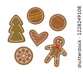 christmas gingerbread cookies... | Shutterstock .eps vector #1228249108