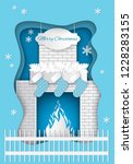 christmas fireplace with... | Shutterstock .eps vector #1228283155