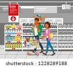 family shopping on supermarket... | Shutterstock .eps vector #1228289188