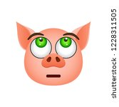 pig in disappointed emoji icon. ... | Shutterstock . vector #1228311505