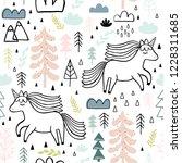 cute seamless unicorn pattern... | Shutterstock .eps vector #1228311685