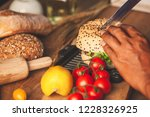 chef cooking and cutting... | Shutterstock . vector #1228326925