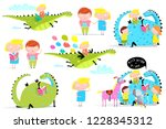 kids reading books dragon clip... | Shutterstock .eps vector #1228345312