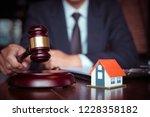 real estate law concept. gavel... | Shutterstock . vector #1228358182