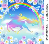 rainbow in the clouds sky and... | Shutterstock .eps vector #1228368502