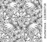 flower doodles seamless pattern.... | Shutterstock .eps vector #1228383718