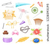 hair accessory vector hairpin... | Shutterstock .eps vector #1228393195