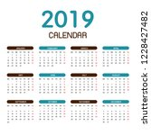 Colorful Year 2019 Calendar...