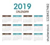 Colorful Year 2019 Calendar...