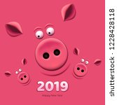banner with family of pig's on... | Shutterstock .eps vector #1228428118