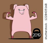 pig symbol of new year 2019... | Shutterstock .eps vector #1228435168