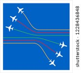 airplane flying formation in...   Shutterstock .eps vector #1228436848