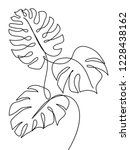 monstera leaf line art. contour ... | Shutterstock .eps vector #1228438162