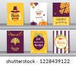 set of happy thanksgiving day...   Shutterstock .eps vector #1228439122