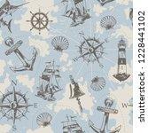 vintage nautical elements...   Shutterstock .eps vector #1228441102