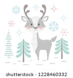 deer baby winter print. cute... | Shutterstock .eps vector #1228460332