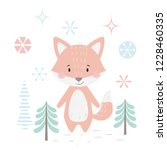 fox baby winter print. cute... | Shutterstock .eps vector #1228460335