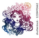 girl portrait  decorative... | Shutterstock .eps vector #1228493662