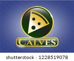 shiny badge with pizza slice... | Shutterstock .eps vector #1228519078