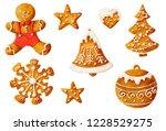 set of gingerbread cookies with ... | Shutterstock . vector #1228529275