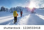 winter hiking. tourists are... | Shutterstock . vector #1228533418