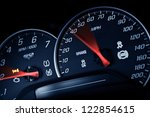 Sporty Speedometer. Sports Car Instruments Dash/Panel Closeup. RPM and Speed Metering. Transportation Photo Collection. - stock photo