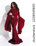 royal red dress with long... | Shutterstock . vector #1228549855