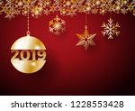 2019 happy new year background. ... | Shutterstock .eps vector #1228553428
