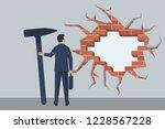 businessman breaks wall. man...   Shutterstock .eps vector #1228567228