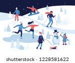 people having winter activities ... | Shutterstock .eps vector #1228581622