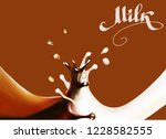 chocolate drops splatter 3d... | Shutterstock .eps vector #1228582555