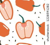 doodle red pepper vector... | Shutterstock .eps vector #1228591282