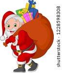 cartoon santa claus carrying a... | Shutterstock .eps vector #1228598308