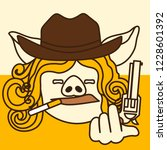 emoji with smoking cowgirl pig... | Shutterstock .eps vector #1228601392