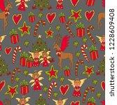 vector christmas seamless... | Shutterstock .eps vector #1228609408