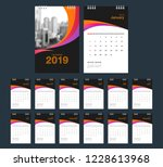 2019 calendar. desk calendar... | Shutterstock .eps vector #1228613968