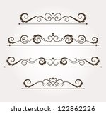 set of four calligraphic floral ... | Shutterstock .eps vector #122862226