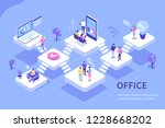 Coworcers in office concept design. Can use for web banner, infographics, hero images. Flat isometric vector illustration isolated on white background. - stock vector