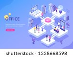people in open space office... | Shutterstock .eps vector #1228668598