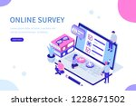 online survey concept with... | Shutterstock .eps vector #1228671502