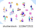different people with gift... | Shutterstock .eps vector #1228672522