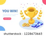 you win concept banner. can use ... | Shutterstock .eps vector #1228673665