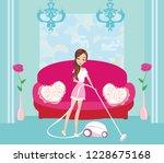 girl with wireless vacuum... | Shutterstock .eps vector #1228675168