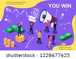 Stock vector vector isometric illustration concept group of people shouting on megaphone you win man stands 1228677625