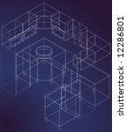 blueprint draw of kitchen... | Shutterstock .eps vector #12286801