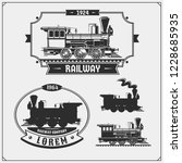 set of retro trains emblems ... | Shutterstock .eps vector #1228685935