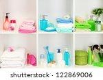 bath accessories on shelfs in... | Shutterstock . vector #122869006